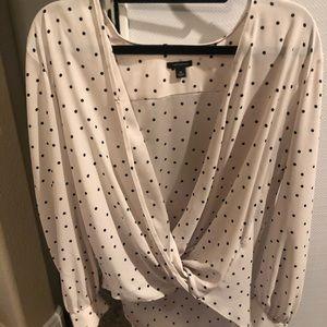 Polka dot white blouse